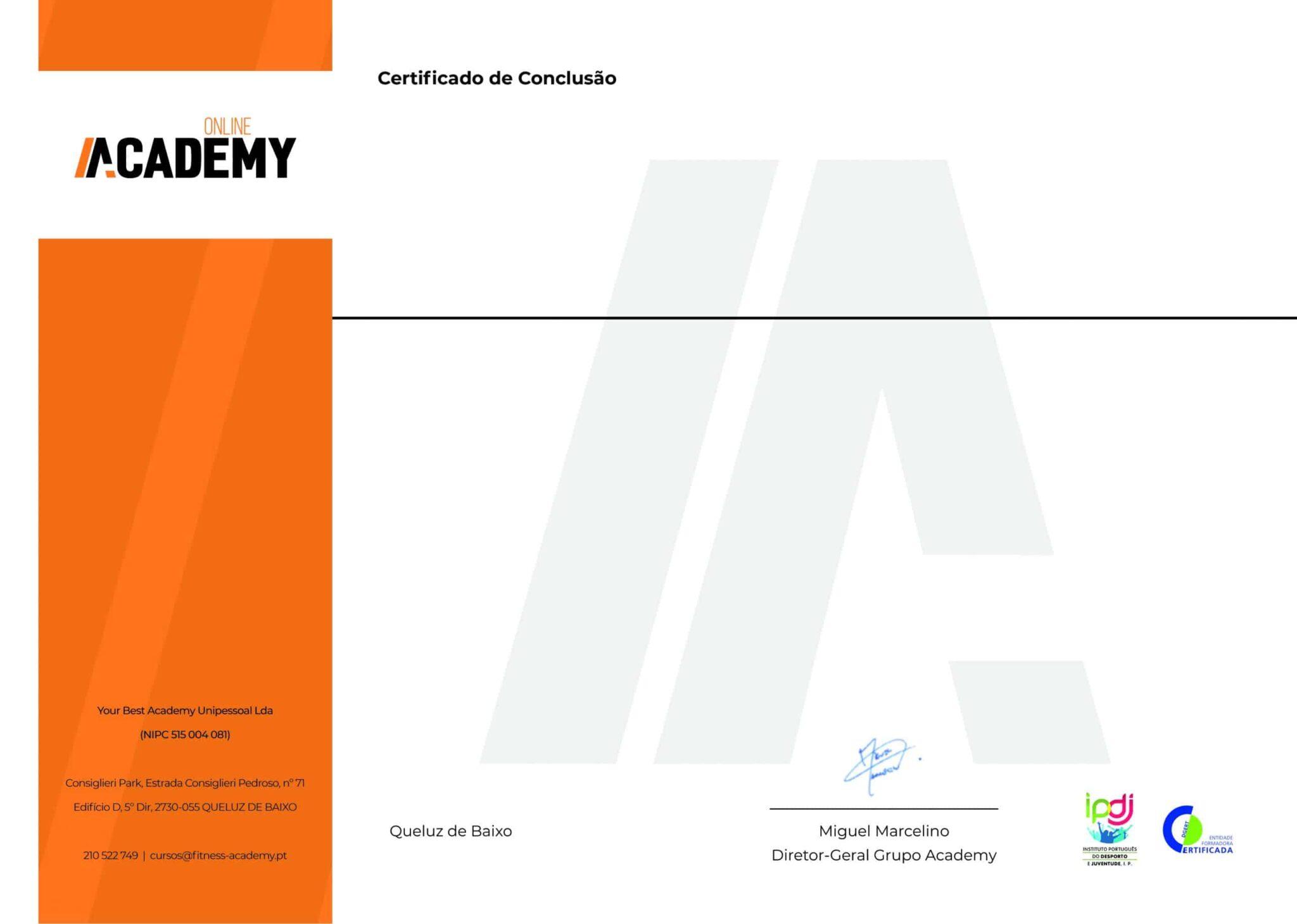 Certificado de Conclusão Online Academy